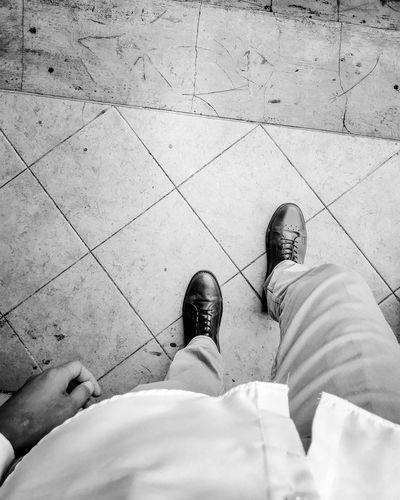 show must go on Hitamputih Sepatukulit Sepatu Sepatu Low Section Men High Angle View Shoe Human Foot Feet Human Feet First Eyeem Photo