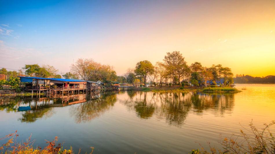 Calm Colorful Sky HDR Lake View Lakeshore Outdoors Reflection River Saraburi Sun Rise Thailnad Water Waterfront