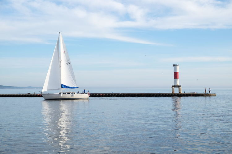 Lake Michigan Lighthouse Quiet Horizon Over Water Nautical Vessel Outdoors Reflection Sailboat Scenic View Scenics - Nature Sky Tower Water
