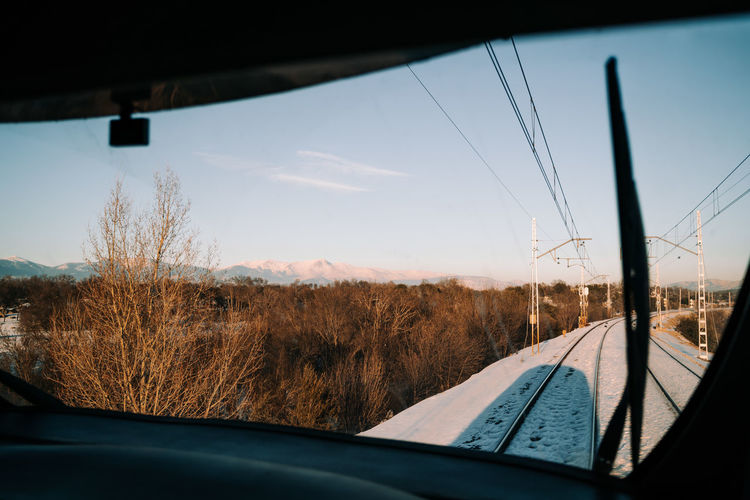 Scenic view of trees seen through car window