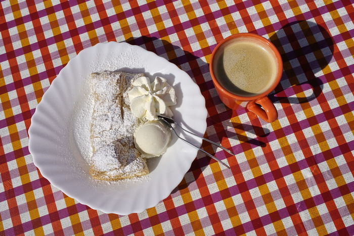 Apfelstrudel Breakfast Checked Pattern Coffee - Drink Coffee Cup Cup Dessert Directly Above Drink Food Food And Drink Freshness Frothy Drink High Angle View Indulgence No People Plate Refreshment Serving Size Still Life Sweet Food Table Tablecloth Temptation Unhealthy Eating