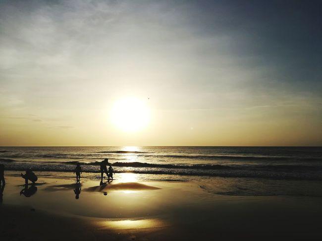 Golden evening Sea Beach Sunset Horizon Over Water Scenics Water Reflection