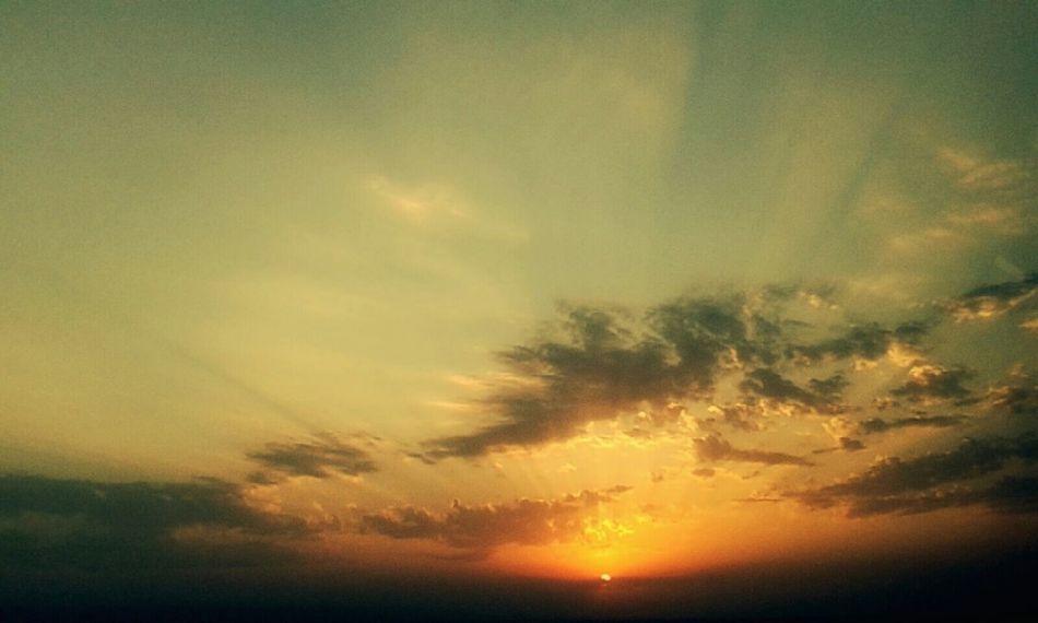 Sundown On The Road Again Sky Sky And Clouds Gold Sky Azerbaijan