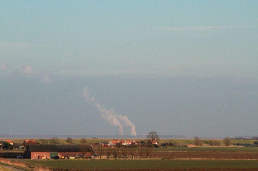 Sky Industry Built Structure Environment Factory Emitting Architecture Nature Outdoors Day No People Nuclear Power Plant Doel Belgium Riverside Zeeuws Vlaanderen Zeeland