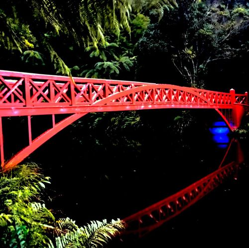 Bridge Red Reflections Lake Lights Water Reflections Colour Vibrant Nature Learn & Shoot: Balancing Elements at Pukekura Park New Plymouth New Zealand