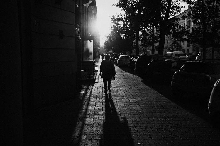 Silhouette man walking on street in city