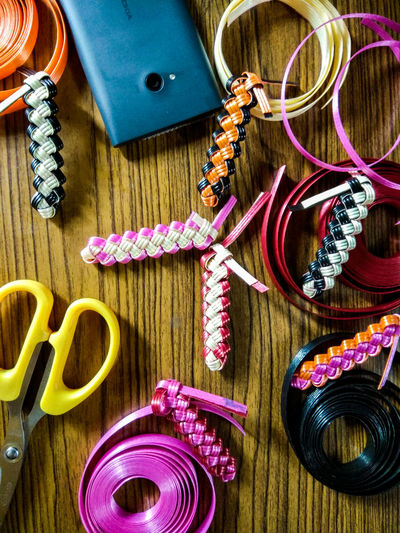 Craft High Angle View Multi Colored Fishwire Coloured Ribbons NokiaLumia Nokia Lumia 730 Scissors KeyChainPhotography Keychain Collection Keychain