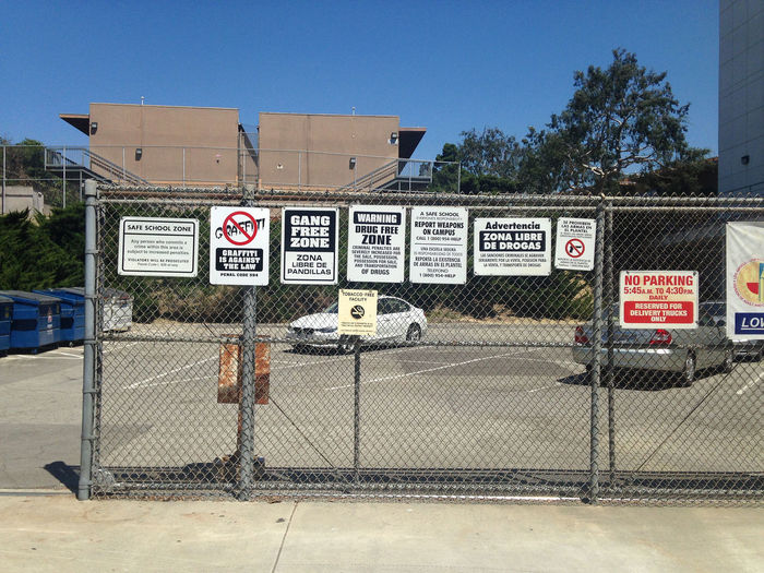 too many signs , gang free for real? Crowded Signs Gang Free Information Sign No People Signboard Warning Sign