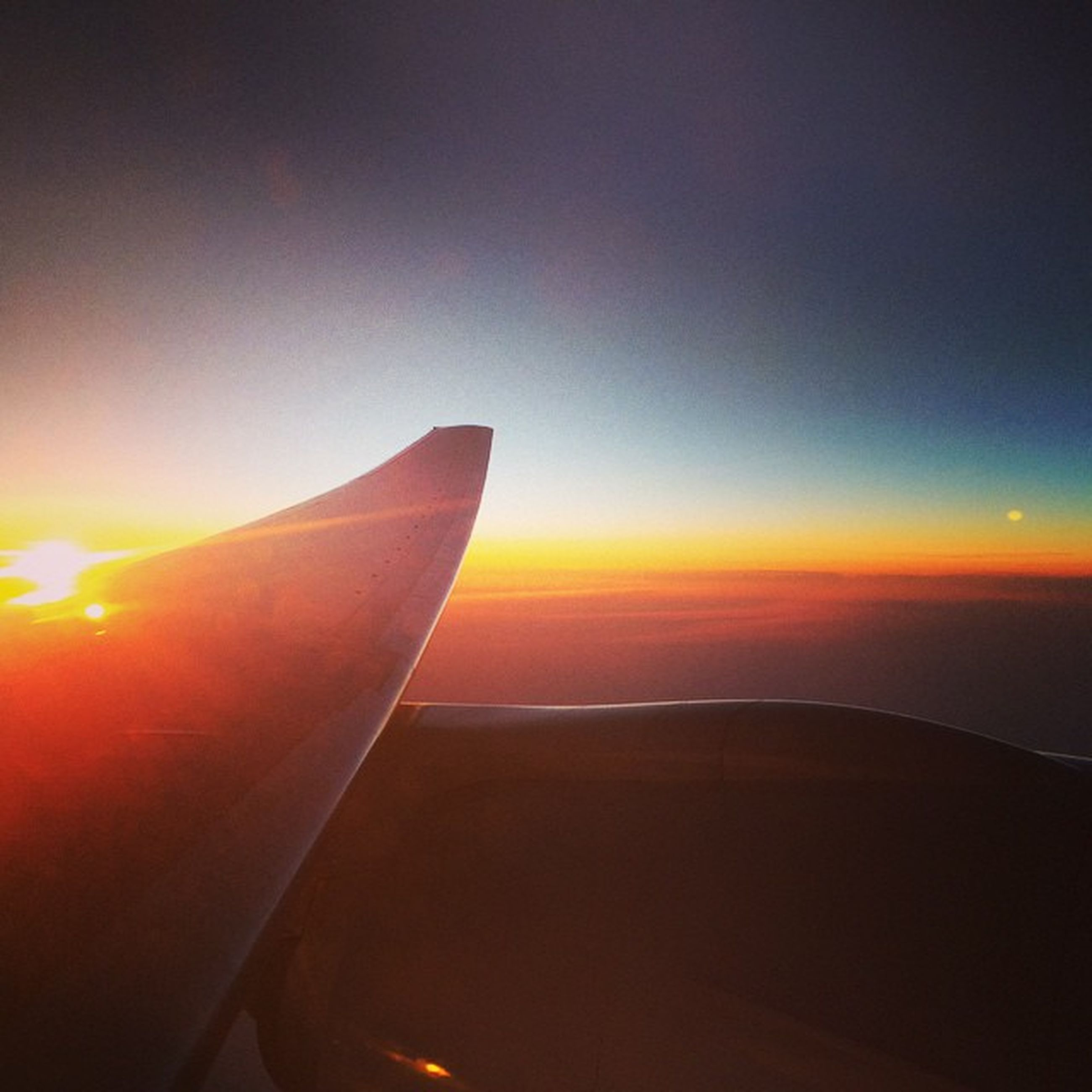 sunset, airplane, aircraft wing, orange color, flying, scenics, sun, air vehicle, sky, part of, beauty in nature, transportation, cropped, nature, mode of transport, tranquil scene, copy space, aerial view, tranquility, mid-air