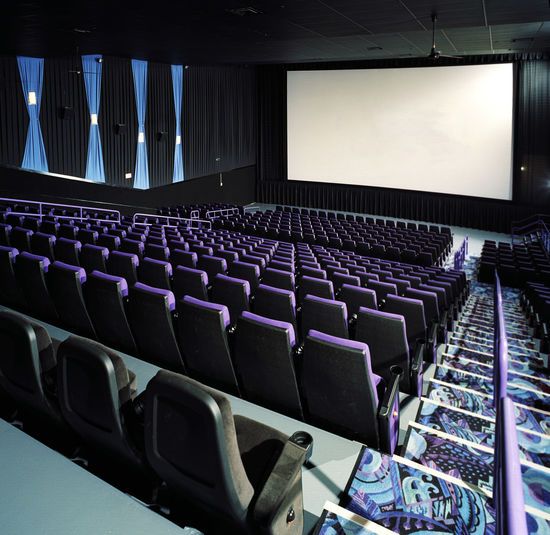 Auditorium Blank Projection Screen Movie Theater Movie Theater Seats Now Playing