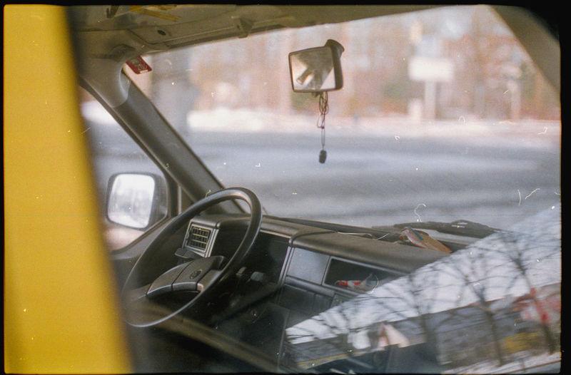 Interior of wet car window