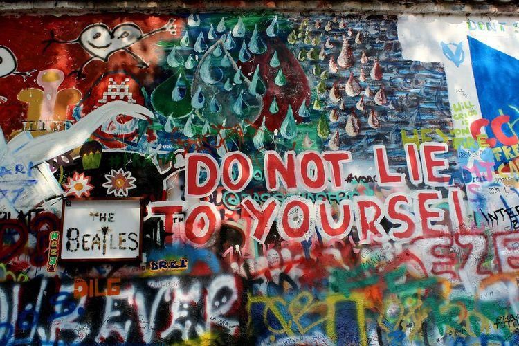 "John Lennon's Wall ""Do not lie to yourself!"" The Beatles Photography Travel Destinations Tourism Czech Republic Graffiti No People Close-up Day Street Art"