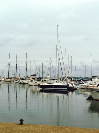 Boats in the Bay Autumn Day Lakeshore
