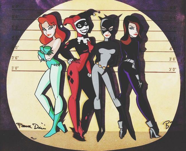 Squad goals 💅🏼✨ Gothamgirls Catwoman Poisonivy Taliaalghul Harleyquinn Batman Dccomics 90s Cartoons