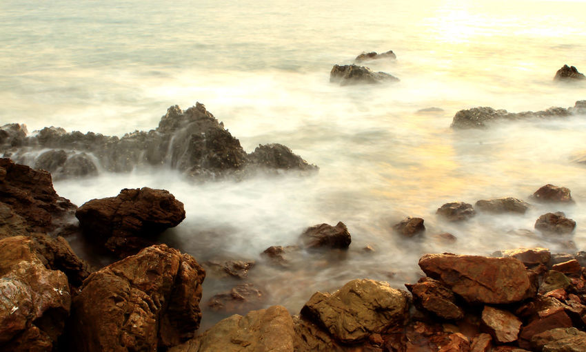 Beauty In Nature Motion Nature No People Outdoors Rock Rock - Object Scenics - Nature Sea Solid Water
