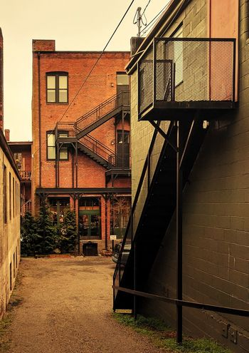 Architecture Staircase Steps Railing Built Structure No People OutdoorsSteps And Staircases Building Exterior Red Bricks Red Buildings Brick Building Alley Port Townsend Railing Sky Day