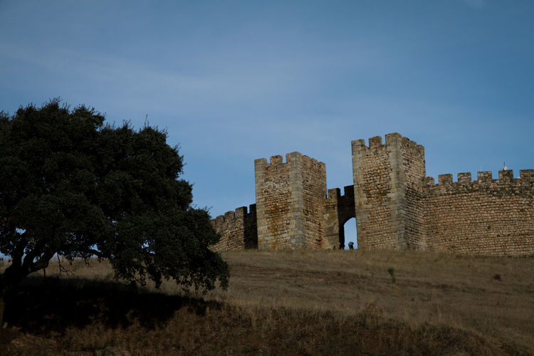 Castle by trees against sky