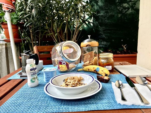 Breakfast Ready To Start My Day ♥ iphone7 Food And Drink Plate Table Food Healthy Eating No People Outdoors Day Tree Drinking Glass Drink Ready-to-eat Freshness