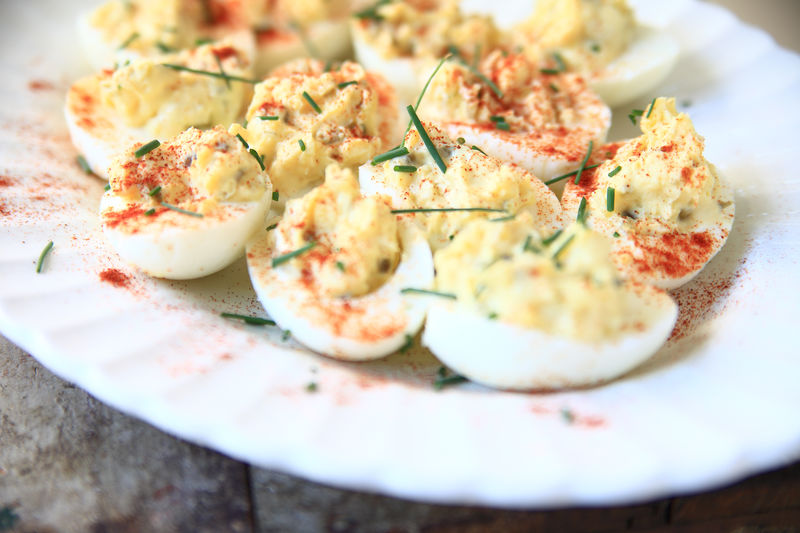 Close-Up Of Deviled Eggs Served On Plate