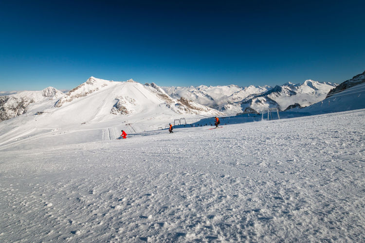 Scenic view of austrian ski region hintertux glacier in the region of tyrol against clear blue sky