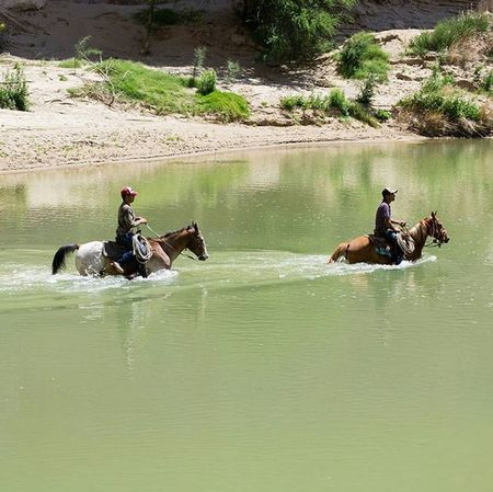 Casually crossing the river into The United States. Mexico Crossing Cross Riogrande Bigbend Bigbendnationalpark Nationalpark Horse Tread River Park Texas Desert Getoutside Hiking Trail Adventure Travel