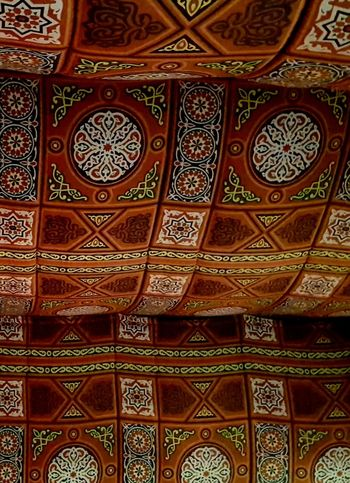 Egyptian Khayamiyah Pattern Design Art And Craft Ornate Architecture Backgrounds Full Frame Close-up Indoors  No People