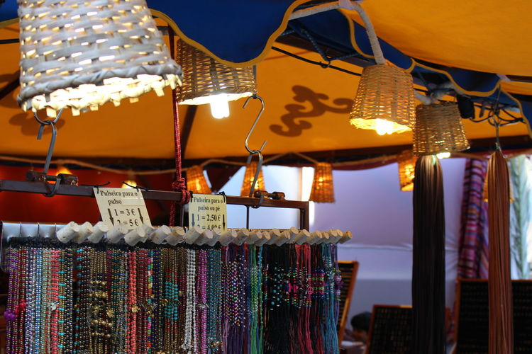Coulorful Fair Handcraft Lamp Market Portugal Selling Stall