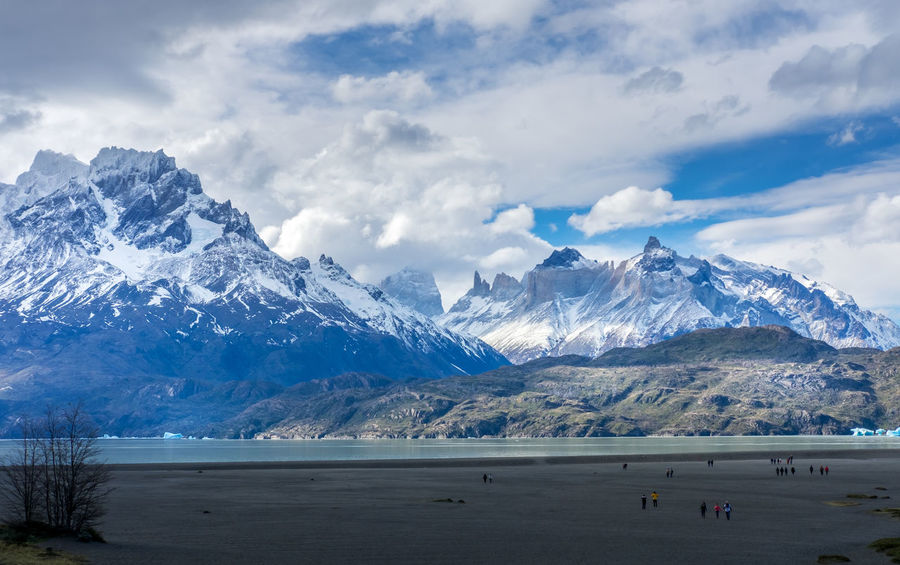 A beautiful view of the Torres del Paine mountains and Grey Lake, Chile Nature Patagonia Chile Snow ❄ TorresDelPaine Blue Blue Sky Cloud - Sky Glacier Lake Outdoor Photography Outdoors Patagonia Rocky Mountains Snow Snowcapped Mountain Torres Del Paine