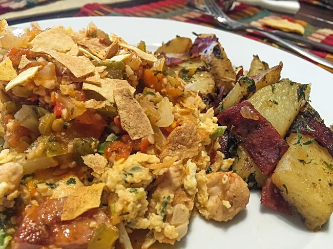 Paleo inspired brunch: Breakfast migas with turkey sausage and smoked chicken and a side of parsley potatoes sautéed in garlic and turkey bacon. Make Magic Happen Beautiful Day Fall Days Cooking At Home Foodphotography My World Of Food Brunch Around The World Fall Mornings