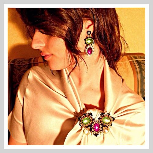 Sara Germani Design - Transformable necklace - Brooch - Earrings - Handmade Made in Italy