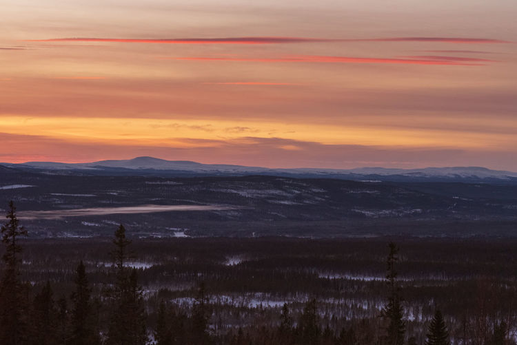 Sky Scenics - Nature Sunset Environment Beauty In Nature Landscape Cloud - Sky Tranquility Nature Tranquil Scene Mountain No People Orange Color Non-urban Scene Outdoors Horizon Horizon Over Land Dramatic Sky Land Sweden Norway Dalarna Trees Forest Evening Sky