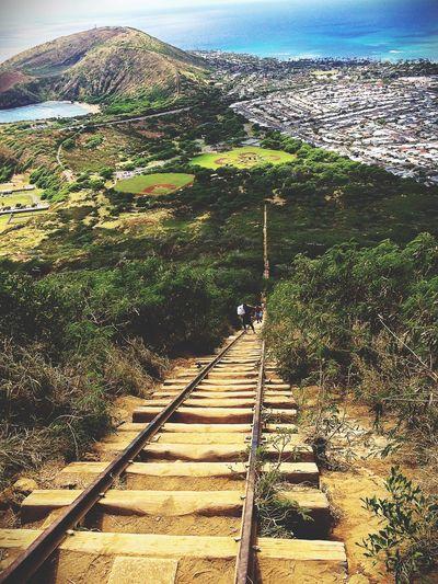 Railway stairs at Kokohead crater-Hawaii Showcase:february