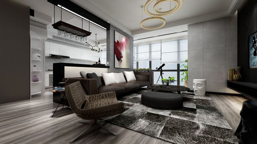 Living Room Design Interior Indoors  Sofa Post-modernism