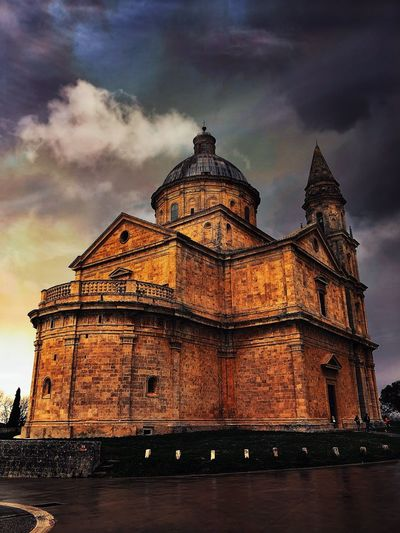 Montepulciano Built Structure Building Exterior Architecture Cloud - Sky Sky Low Angle View History The Past Tourism No People Travel Destinations Travel Nature Building Place Of Worship Belief City Water Religion Spire