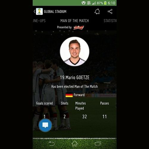 Man Of The Match Mario GOETZE GermanyChampion WorldCupBrazil