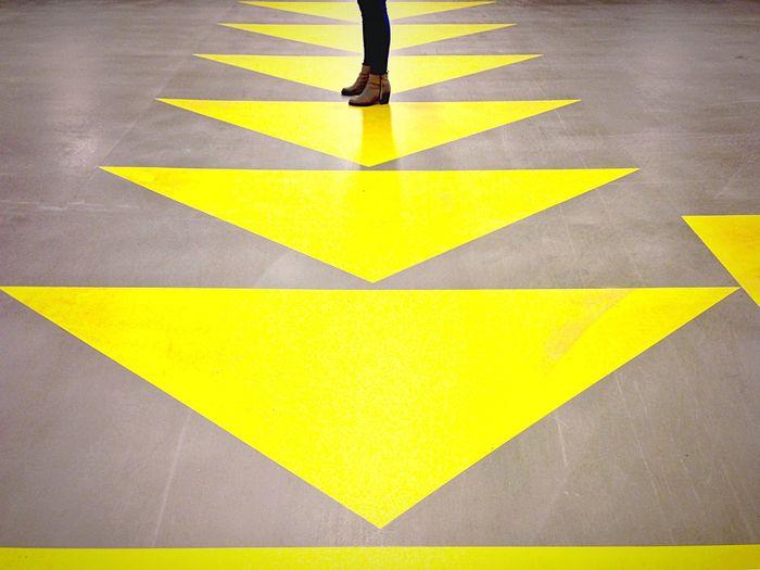 Shadow of people on tiled floor