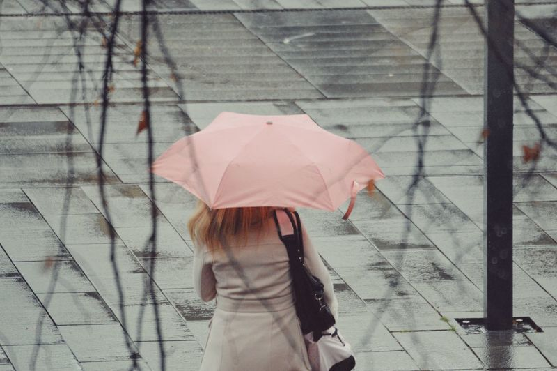 Rear view of woman holding umbrella on footpath