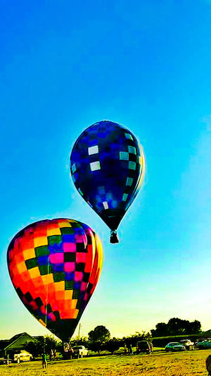 Colour Of Life Hot Air Balloons Transportation Flying High Floating On Air Flying Ballons Bright Colors Hot Air Ballooning Outdoor Photography Outdoor Activity Sports Mississippi  Outdoor Sports Air Show Air Sport Blue Sky Blue Balloon Multi Colored Navigation Avaitors Baloon Festival Color Your Life Color Palette Eyeem Photo Two Is Better Than One
