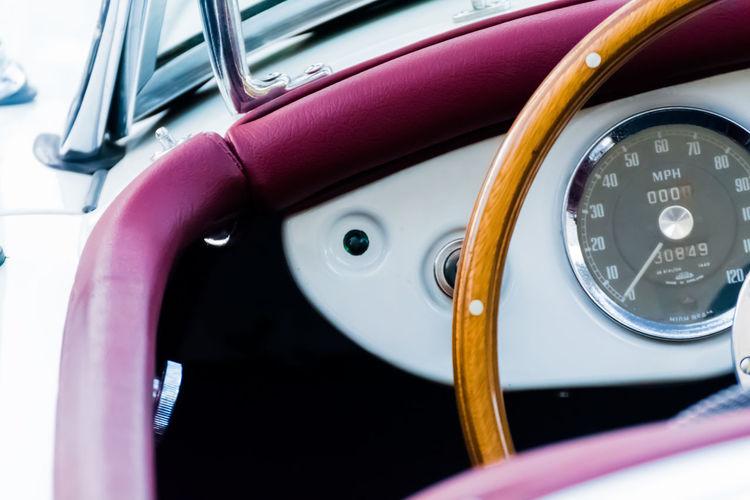 Cropped image of vintage car steering wheel