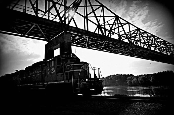 Illinois River bridge at a perfect moment! Great moving pic on my Nikon! Near And Far Black & White The Moment - 2014 EyeEm Awards