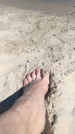 Foot in Baltic See Sand Low Section Nail Polish Sea Beach Shadow Sand Human Leg Summer Women barefoot