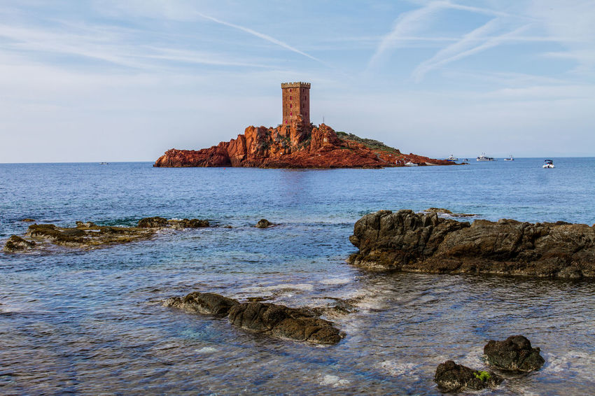 France Architecture Beach Beauty In Nature Europe Horizon Over Water Island Isle Nature No People Outdoors Rock Rock - Object Rock Formation Saint Raphael Scenics - Nature Sea Tower Tranquil Scene Var