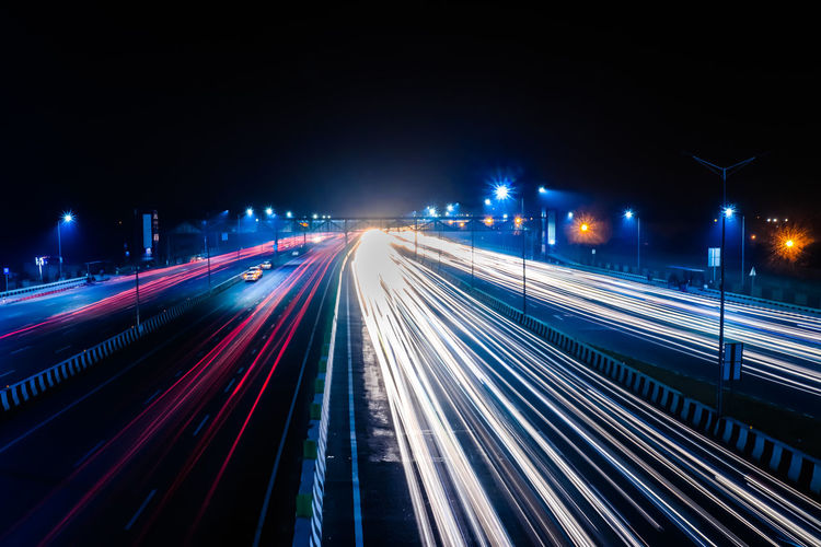 Long Exposure Illuminated Night Transportation Motion Speed Light Trail City Long Exposure Street Traffic City Life Lighting Equipment Road Architecture Street Light Highway Blurred Motion No People Mode Of Transportation Direction Multiple Lane Highway Outdoors Light
