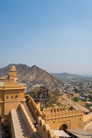 Amber fort : The Beautiful architecture in (Pink City) Jaipur, Rajasthan, India (Public place) Amber Ancient Architecture Astronomy Awasome Building Castle Culture Famous Place Empire Fort Heritage Historic India Jaipur Rajasthan King Landmark Palace Rajput Stone Wall War City Landscape