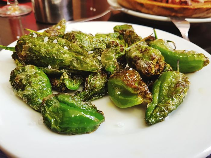 Padron Peppers Plate Close-up Green Color Food And Drink