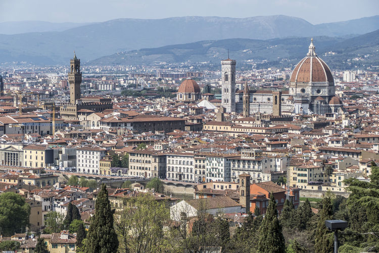 Cityscape of florence from michelangelo square with cathedral of santa maria del fiore in background