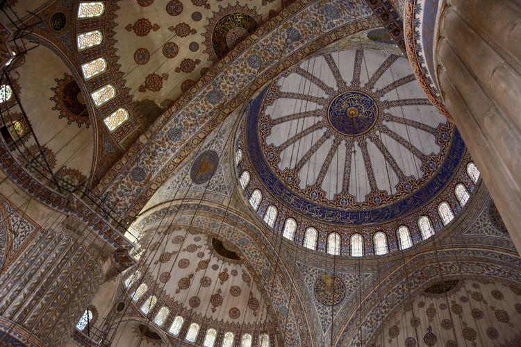 Arabic Architecture Bluemosque Ceiling Culture Istanbul Ornate Prayforistanbul Travel Destinations