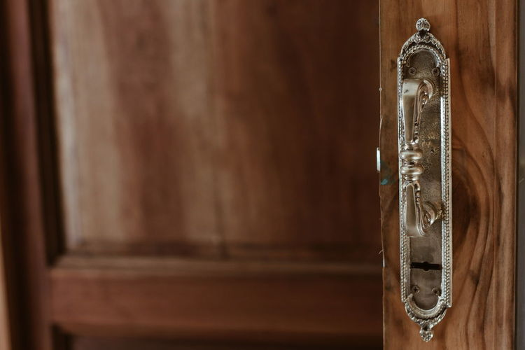 Old-fashioned Close-up Day Door Focus On Foreground Handle Indoors  No People Wood - Material