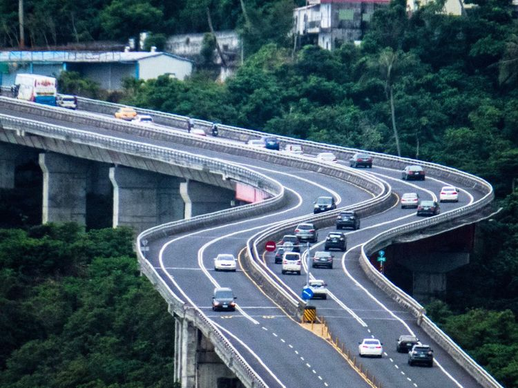 Transportation Traffic Car Road Highway Bridge - Man Made Structure Connection High Angle View Outdoors Taiwan Hualien Hustle And Bustle Bestoftheday Vscocam Discover Your City