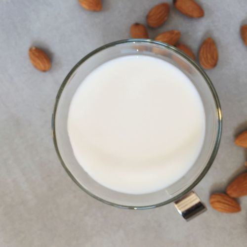 Almond Milk Nut Milk Milk Almond Glass Of Milk View From Above Healthy Drinks Homemade Circle Food Preparation